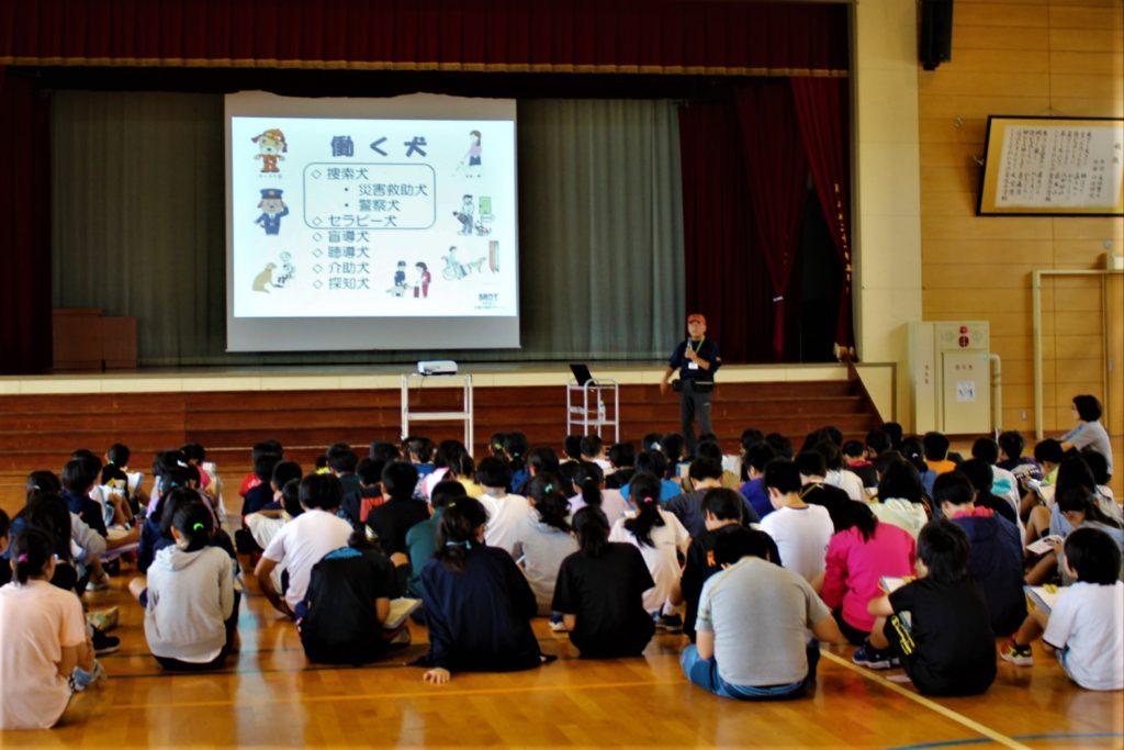 青森市立金沢小学校で犬の訓練士の職業講話と災害救助犬のデモンストレーションを行いました(青森市)。