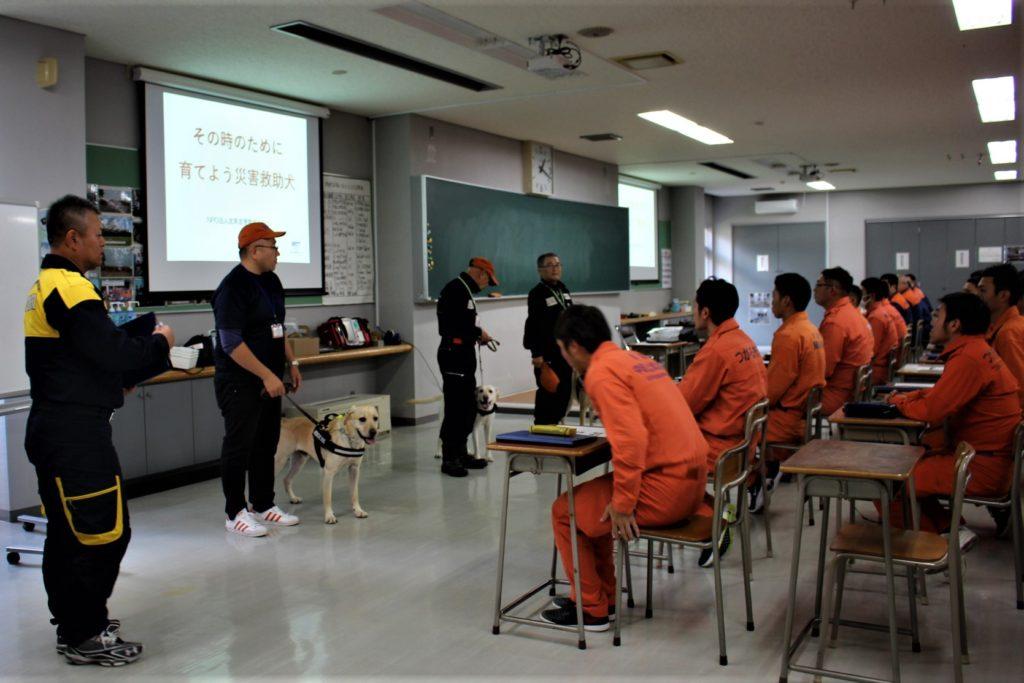 青森県消防学校で災害救助犬についての講義と実戦訓練を行いました(青森市)。