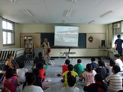 五所川原市の子ども防災チャレンジキャンプでデモンストレーションを行いました。